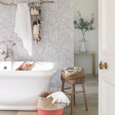 London Based Interior Stylist, Pippa Jameson Styling for Country Homes & Interiors Magazine. Marble and blush bathroom with a scandi feel. Photographs David Briton