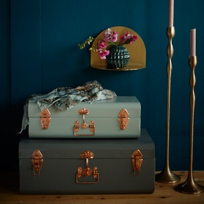 Pippa Jameson styling for Homestyle magazine. Mixed metal bedroom with a brass bed against a deep blue wall