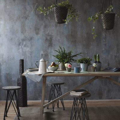 London Based interior Stylist, Pippa Jameson Styling for Homestyle magazine. Reclaimed table and distressed wall with a botanical theme. Photograph, Jo Henderson