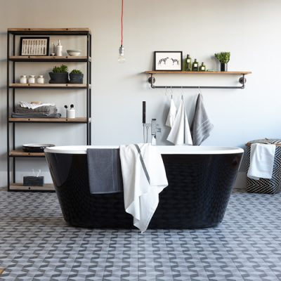 Pippa Jameson Styling a monochrome bathroom for homestyle magazine. Photo Jo Henderson