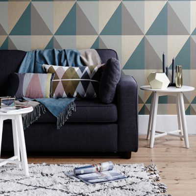 Pippa Jameson Styling with geo wallpaper and mixed metal accessories. Photo Jo Henderson