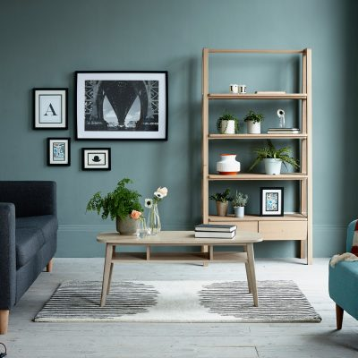 Pippa Jameson styling for Next catalogue. Scandi style living room against a green wall with a botanical look